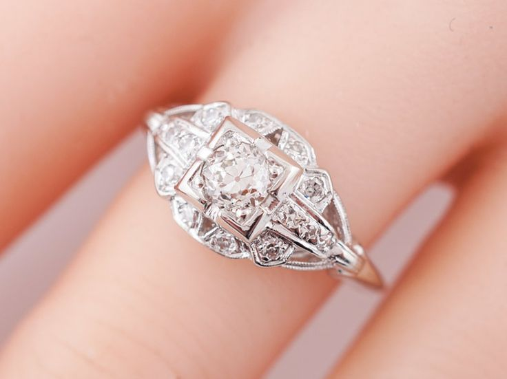 Antique Engagement Ring Art Deco .36ct Old European Cut Diamond in Platinum. Minneapolis, MN.