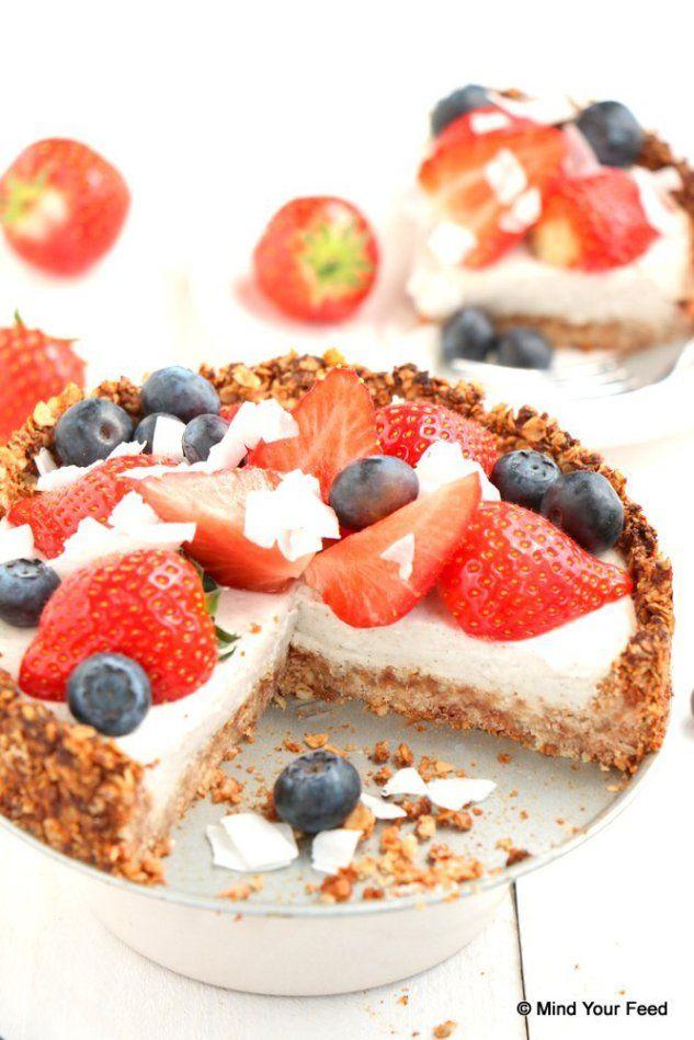 havermout aardbeien taart via mindyourfeed