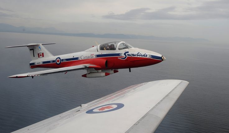 """Royal Canadian Air Force Canadair CT-114 Tutor of the RCAF national aerial demonstration team """"The Snowbirds""""."""