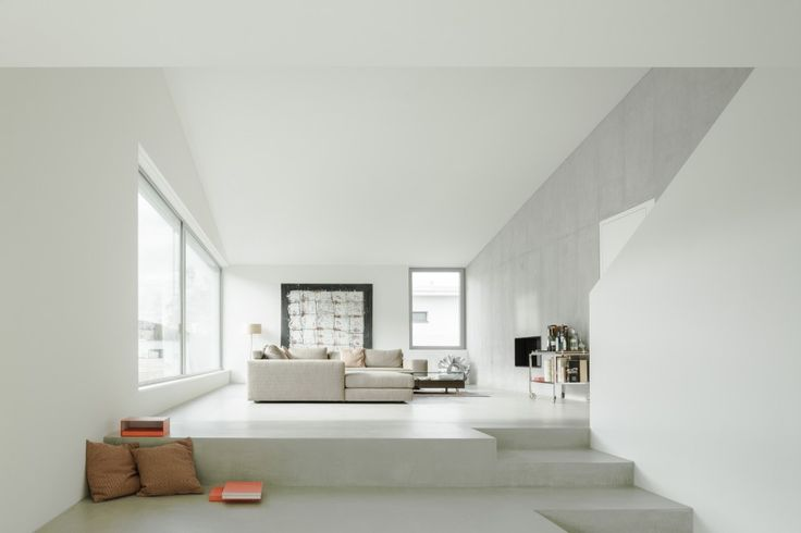 Monochrome living room. House in the March District by Kit Architects.