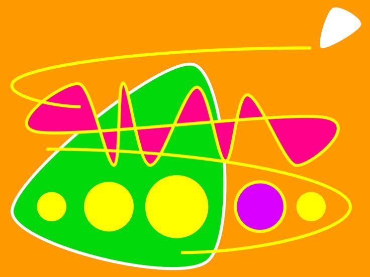 """[Ejercicio 2.1] """"Happy"""". Lo he titulado así, no solo en honor al tema que me ha servido de inspiración principal, sino porque es el sentimiento que, a grandes rasgos, me evoca la fusión de neo soul y funk. Sirviéndome de la psicología del color y las formas, he querido plasmar su optimismo (""""triangulo"""" ascendente verde), vitalidad (fondo naranja, formas dinámicas con magenta -diversión-), ritmo (repeticiones, líneas), estilo (morado), etc."""