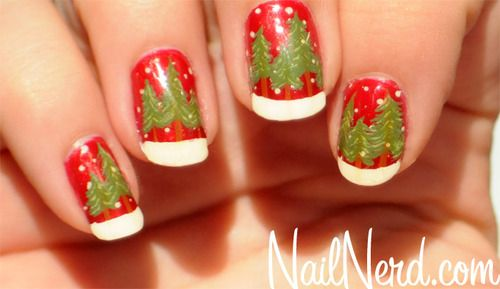 Christmas tree nail art on a base of OPI The Spy Who Loved Me