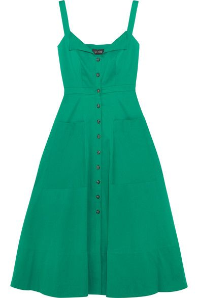 Dark-green stretch-cotton Button fastenings through front 96% cotton, 4% elastane Dry clean ImportedLarge to size. See Size & Fit notes