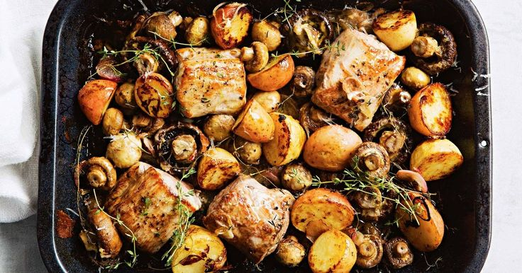 Dijon mustard adds flavour to the roasting juices and works well with pork in this low cal dinner idea.