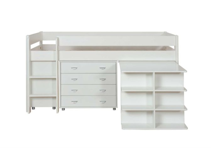 Stompa Kool Bed With Desk, Cube & Drawer; Furniture Village - Stompa Kool Kid's Mid Sleeper Beds at Furniture Village - Bedroom Storage, Beds, Mattresses & Bed Frames