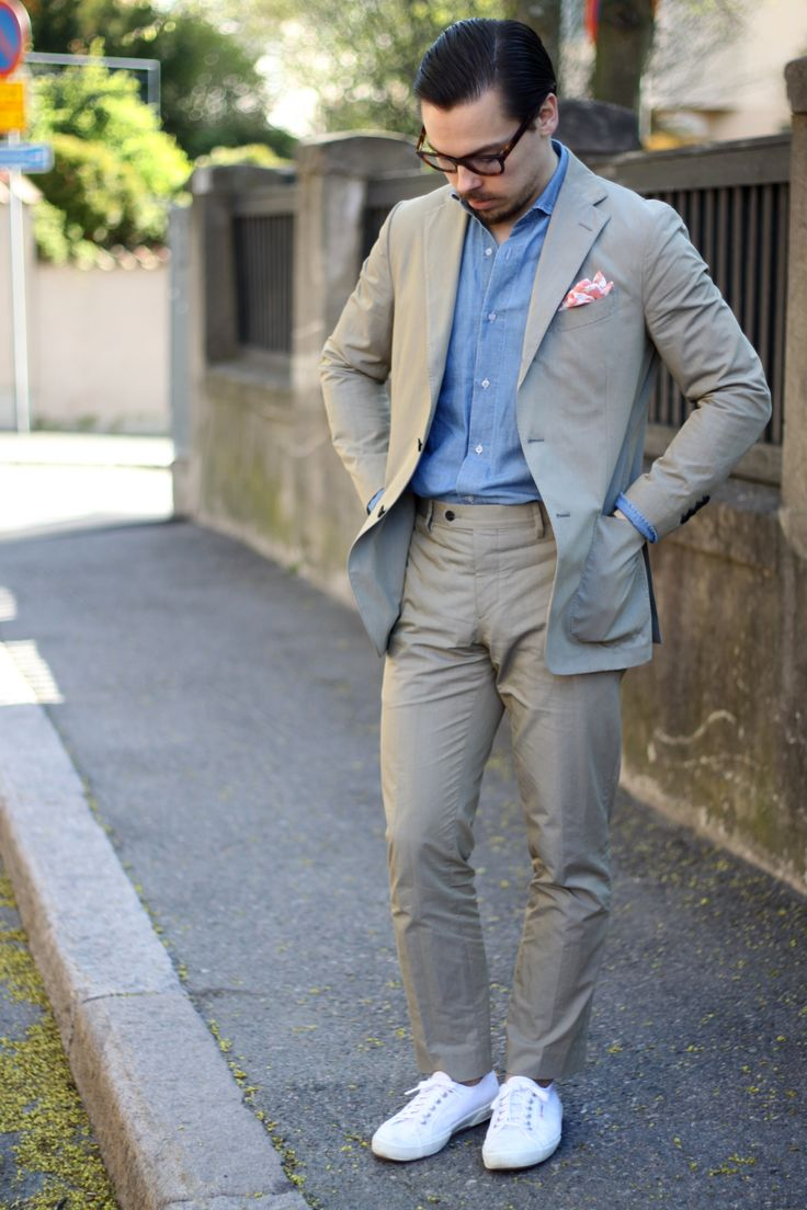 Suit without a tie - cotton suit with superga sneakers