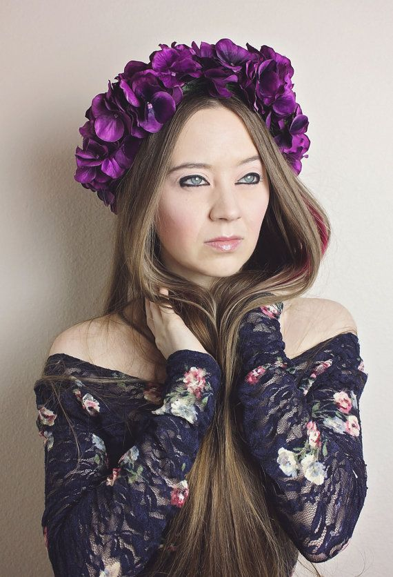 Purple Flower Crown Headband, Hydrangea Floral Crown, Adult Fairy Costume Woodland Hair Accessory