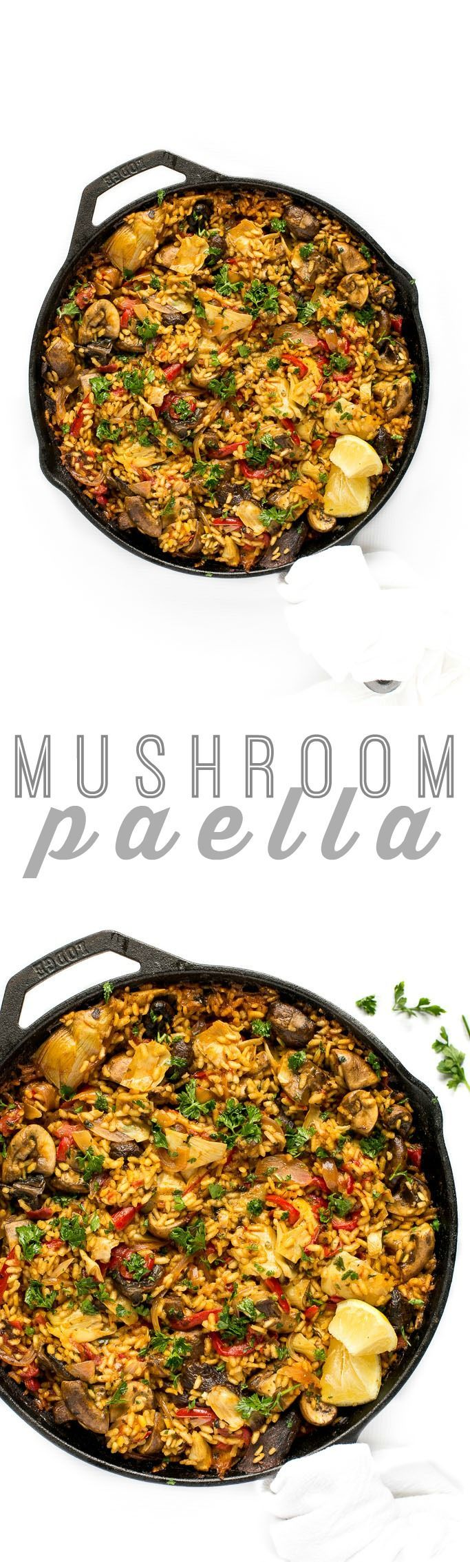 There are few dishes as flavor-packed, comforting, and vibrant as paella. This vegan mushroom paella packs a rich punch of flavor thanks to a sofrito base, hearty mushrooms, and artichoke hearts. It's cooked to perfection with lots of tender rice at the center of the skillet and that delectable golden-brown paella crust at the edges.