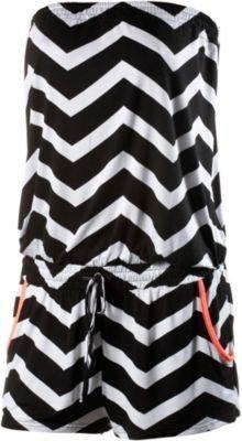#LASCANA #Damen #Bandeau-Overall #schwarz - Trägerloser Jumpsuit mit gezacktem, Streifenmuster Oberteil am Saum gesmokt…