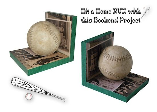 You could change the baseball to pretty much anything to make the bookends fit the theme of your room! I'm thinking old CD's for a music lover, plastic animals for a kid... the possibilities are endless!