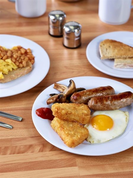 Classic Winged White Plates used for simple yet effective breakfast service.