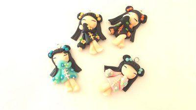 """Dalla serie """" MONDO KOKESHI"""" CIONDOLO CHARMS  bambole giapponesi 4,5 cm -    - una a scelta - portafortuna     - FIMO -   - idea regalo - natale -"""