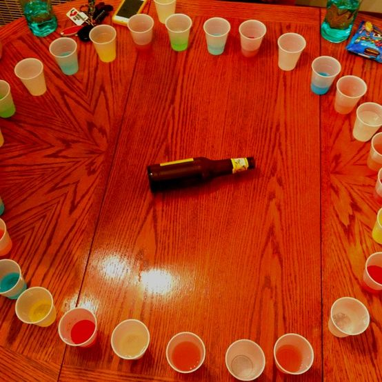 Spin the bottle, the adult way. Whatever shot it lands on, you have to take it. Next get together we're doing this!! Lilly's big table would be perfect this. @Blanca Ibarra-Cordero