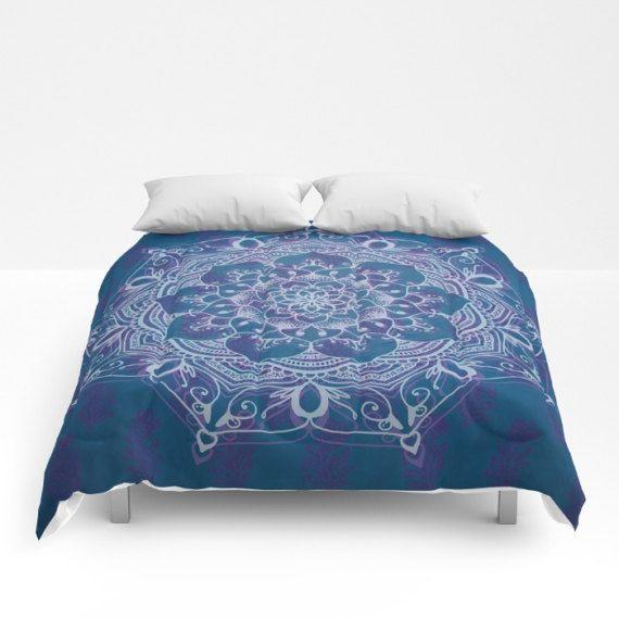 Mandala Duvet Cover, Full Queen King, Boho Decor, Medallion Design, Teal Purple Bed Cover, Blue Zen Comforter, Bohemian Bedding, Hippie Chic