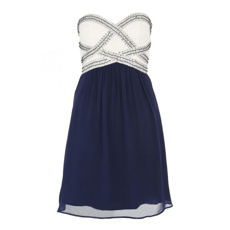 Cream and Navy Chiffon Bustier Dress