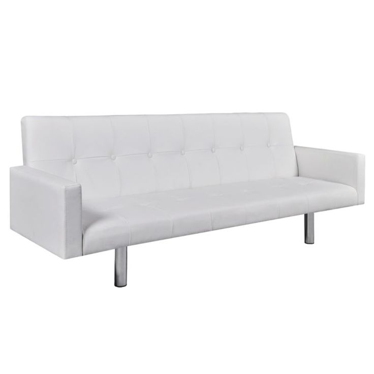 Adjustable Faux Leather Sofa Bed w/ Armrests White   Buy Leather Sofas