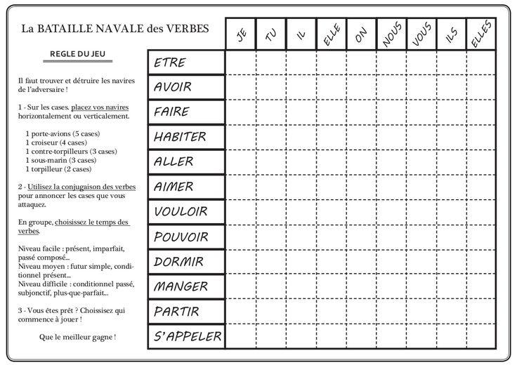 Une adaptation FLE pour le celebre jeu de bataille navale  La regle du jeu + grille avec verbes :    Une grille vierge :