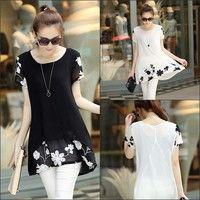 Wish   New Fashion Women Blouse Short Sleeve Chiffon T-Shirts Embroidery Flower Dress