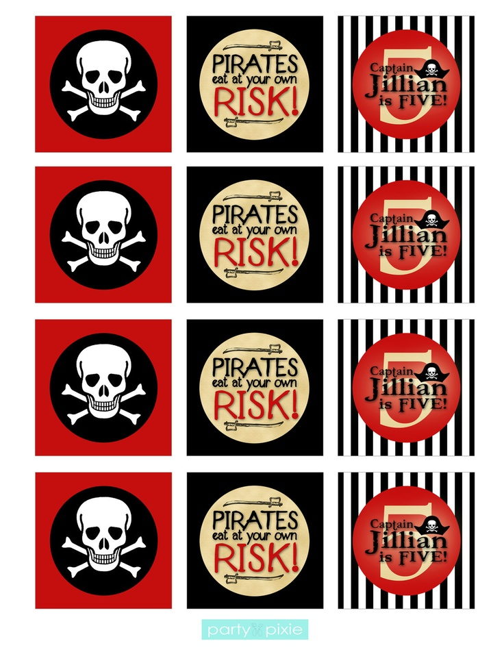 Pirate Party - Cupcake Toppers - Custom