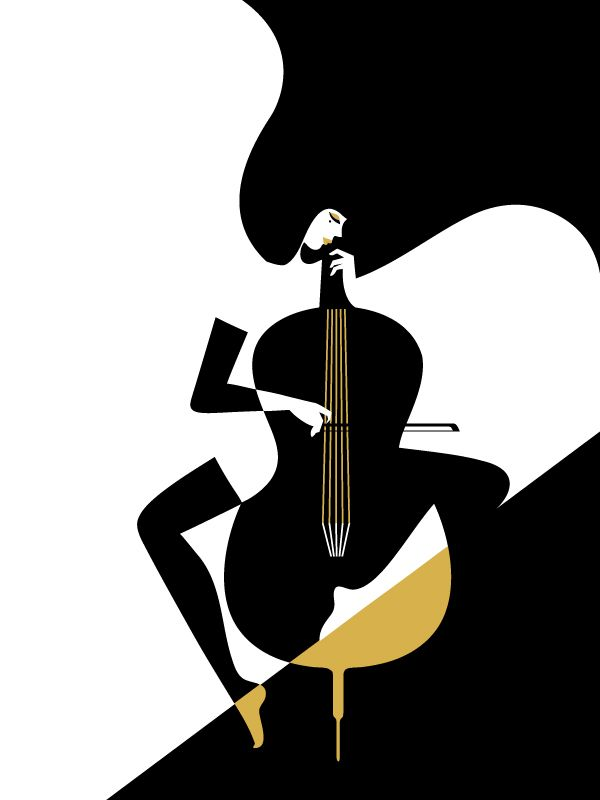 Very simple design yet interesting. I like how the use of two simple colors can make us think of a woman playing cello. It is interesting the brown color at the bottom of the image, it makes the image more interesting. AR