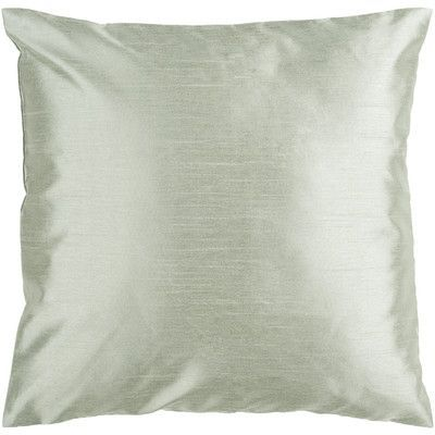"Astoria Grand Appley Solid Luxe Synthetic Throw Pillow Size: 18"" H x 18"" W, Color: Silver Seafoam, Filler: Down"