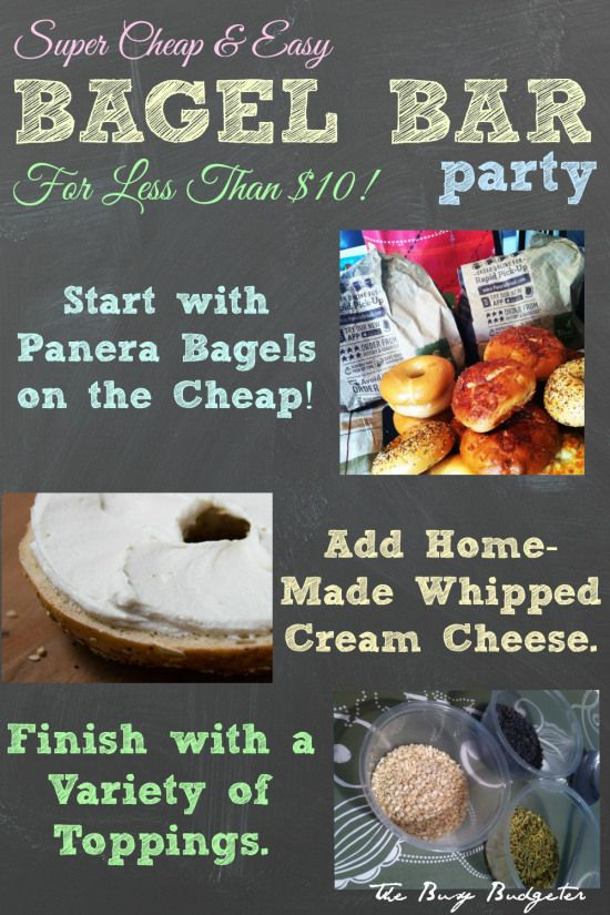 Bagel Bar Party for Less Than $10! Great idea for brunch or a casual shower | Busy Budgeter
