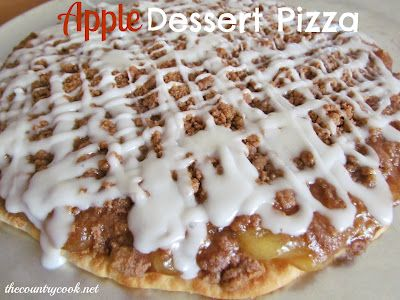Apple Pie Pizza - pre-made thin pizza crust, 1 can apple pie filling, 5 tbsp butter, 2/3 c brown sugar, 2/3 c flour, 1/2 tbsp cinnamon
