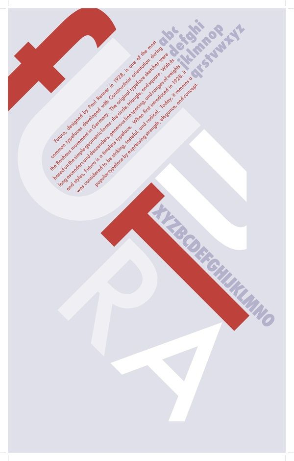 """#futura #Paul Renner Although the letters to the word, Futura are broken up, it's still easy to read. I also like the lay out of this. The color scheme is settle and nice. I like the """"off centered"""" look."""