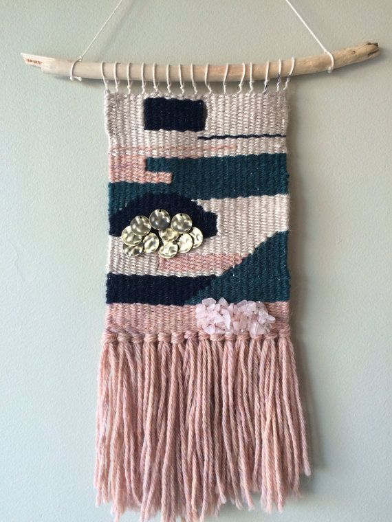 Neutral geometric woven wall hanging with by TheSelvedgedLoom