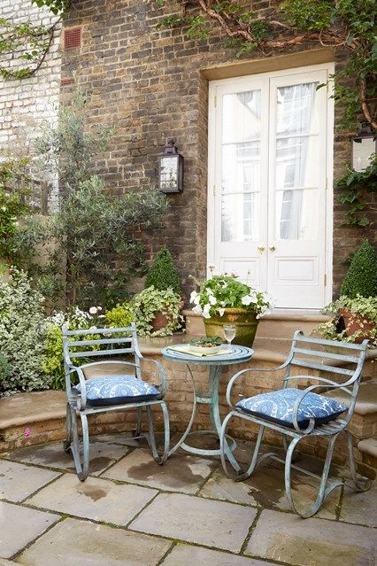 Small Paved Patio With French Doors