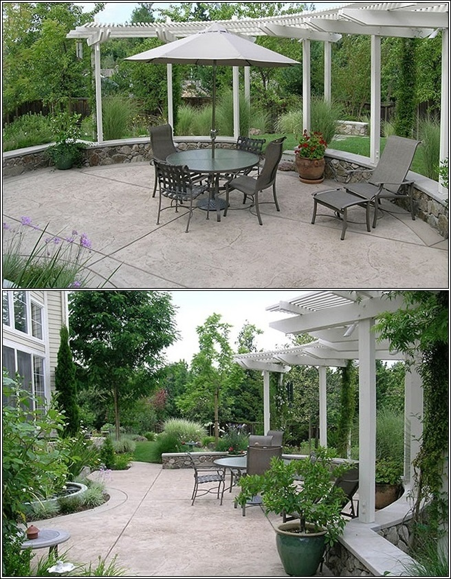 Love the curved pergola. This would be a great way to separate the backyard.