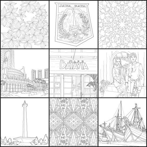 Ngintip isi buku #JakartaColoringBook 02, from @penerbitharu @ColoringBookID #betawi #jakarta #jakartaindonesia #indonesia #jkt #exploringjakarta #ilovejakarta #batik #indonesianbatik #adultcoloringbook #coloringbook #bukumewarnai #mewarnai #drawing #sketsa #sketch #doodles #doodle #doodling #hobby #arts #masbambi #masbe #mas_be #bambibambanggunawan #karyamasbambi #klikbatavia #ahok #temanahok
