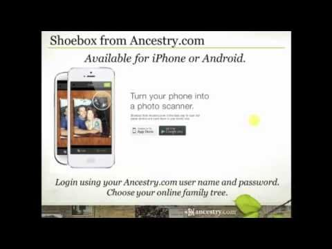 Shoebox from Ancestry.com - It's a Scanner in Your Pocket - Have shoeboxes full of old photos that you've been meaning to get scanned? Does your cousin have the family bible and won't let it out of their possession? Did you take a photo of a tombstone the last time you were in a cemetery and now you don't know how to get it from your phone to your computer? Join Crista Cowan as she explains the new iPhone and Android app - Shoebox from Ancestry.com.