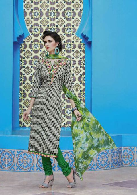 Buy Online Designer Printed Churidar Suit or shuits Black and Green Color, Cotton material, Chiffon Dupattas, Party Wear, Casual wear, Summer Wear, Festival Wear, Kitty Party Wear for women, Churidar Suits, Churidar suit, shuits for women. We have large range of Designer Printed Cotton Churidar suits in our website with the best pricing and unique designs shipping to (UK, USA, India, Germany, UAE, Canada, Singapore, Australia, Mauritius, New Zealand) world wide.