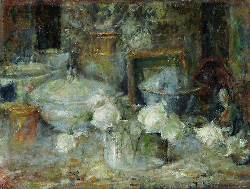 Olga Boznańska - Martwa natura z białymi różami i japońską laleczką (1918)