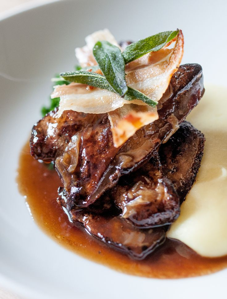 Calf's liver, mashed potato, bacon and melted onions by Dominic Chapman