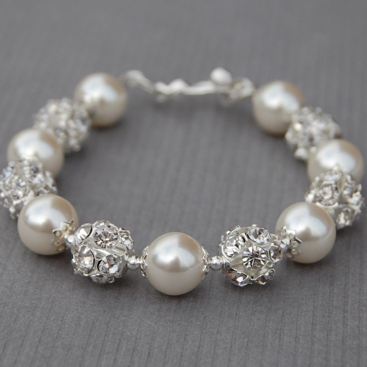 Bridal Ivory Pearl and Rhinestone Bracelet, Sparkling Wedding Jewelry, Bling Bracelet, Bridesmaid Jewelry