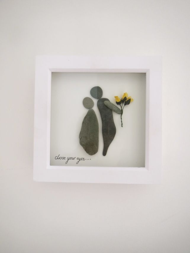 Pebble art, yellow flower, 'close your eyes', perfect gift. £17.50