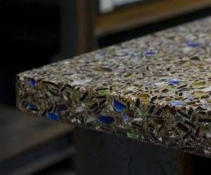 #Recycled glass countertop - it contains 85% recycled crushed glass, with larger pieces added that creates a very attractive surface