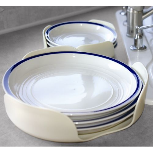 These Plate Organizers comes in a set of two. One organizer holds plates measuring up to 7.25 inches in diameter. The other holds plates up to 10.25 inches...great idea to secure the plates while on the road.