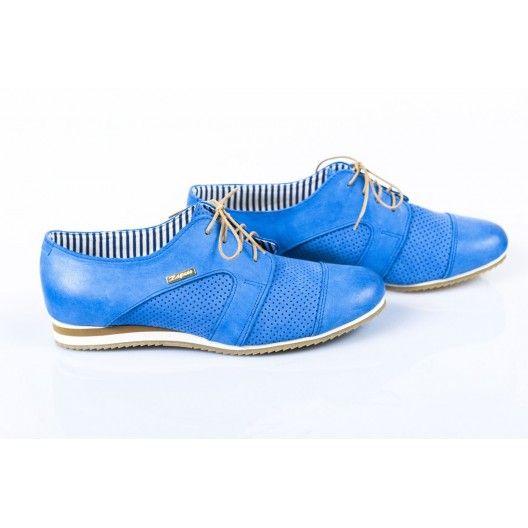 Női bőr gyaloglást perforált blue DT228 - manozo.hu
