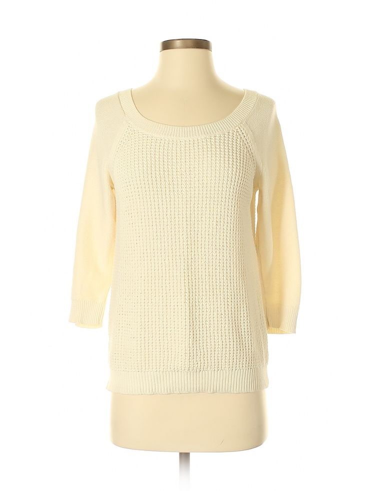 Ann Taylor Factory Pullover Sweater: Beige Solid Scoop Neck Women's Tops – S…