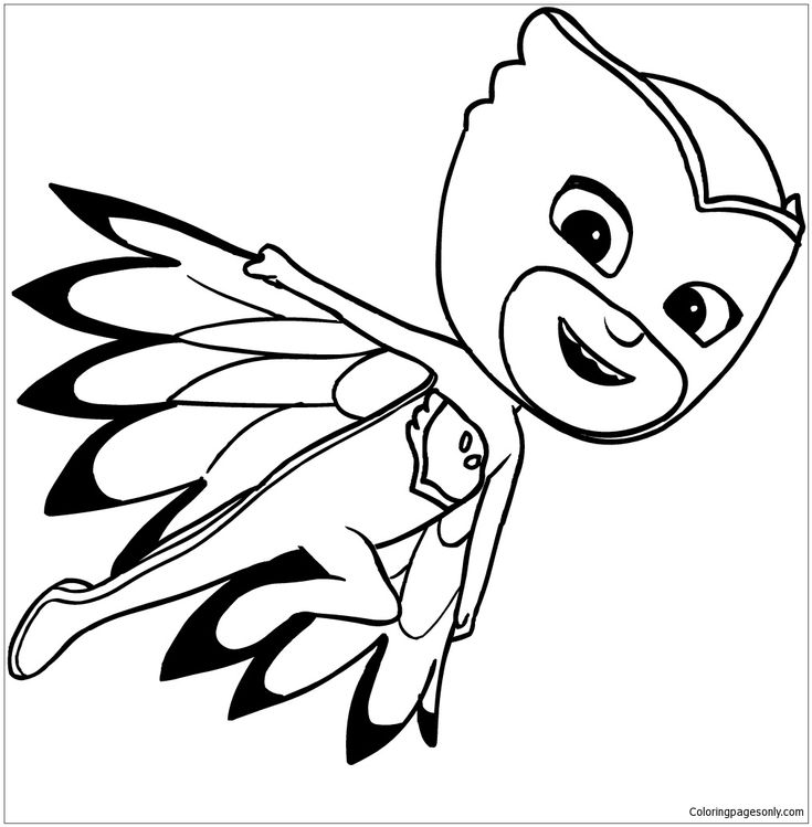 owlette of pj masks coloring page free coloring pages online