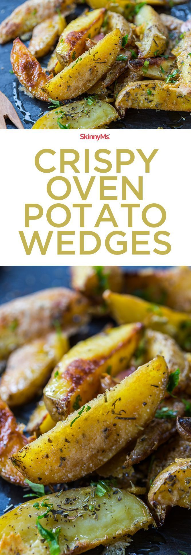 These Crispy Oven Potato Wedges are fresh from the oven and not the fryer. Makes the perfect side dish! #cleaneating
