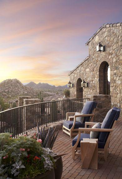 Wiseman and Gale Interiors - Interior Designer - Scottsdale - Rustic - Southwestern - Mediterranean - Outdoor Room - Patio - Porch - View - Upholstered Chairs - Brick Floor - Plants - Stone - Neutrals