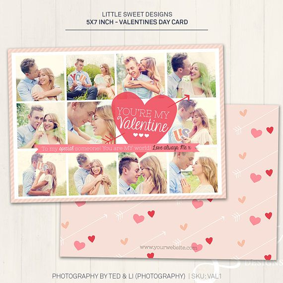 Valentine S Day Card Photoshop Template For Etsy In 2021 Valentine Photo Cards Valentines Cards Valentines