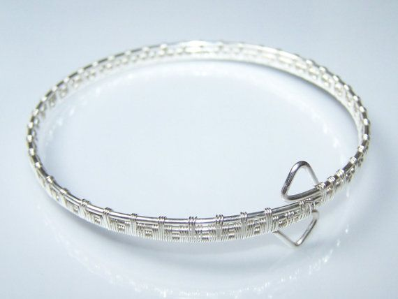 Wire Wrapped Silver Bangle Bracelet Cuff Bracelet by choice4all