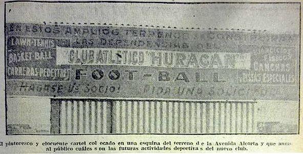 Cartel que anunciaba la construcción del estadio de Huracán (circa 1923)