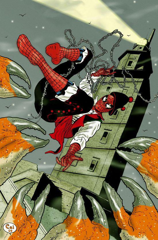 Spiderman e a Torre de Hércules Ilustración do autor galego Álex Cal qe foi publicada no diario La Voz de Galicia