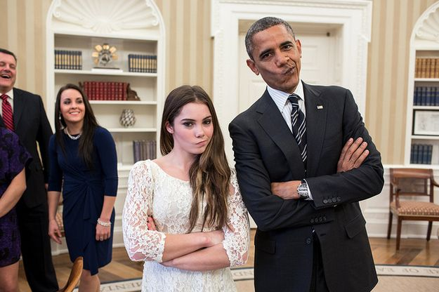 """Love it!!  President Barack Obama jokingly mimics U.S. Olympic gymnast McKayla Maroney's """"not impressed"""" look while greeting members of the 2012 U.S. Olympic gymnastics teams in the Oval Office, Nov. 15, 2012. Steve Penny, USA Gymnastics President, and Savannah Vinsant laugh at left. (Official White House Photo by Pete Souza)"""